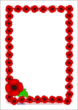 Remembrance Day Poppy A4 Page Borders  Sb1778    Sparklebox