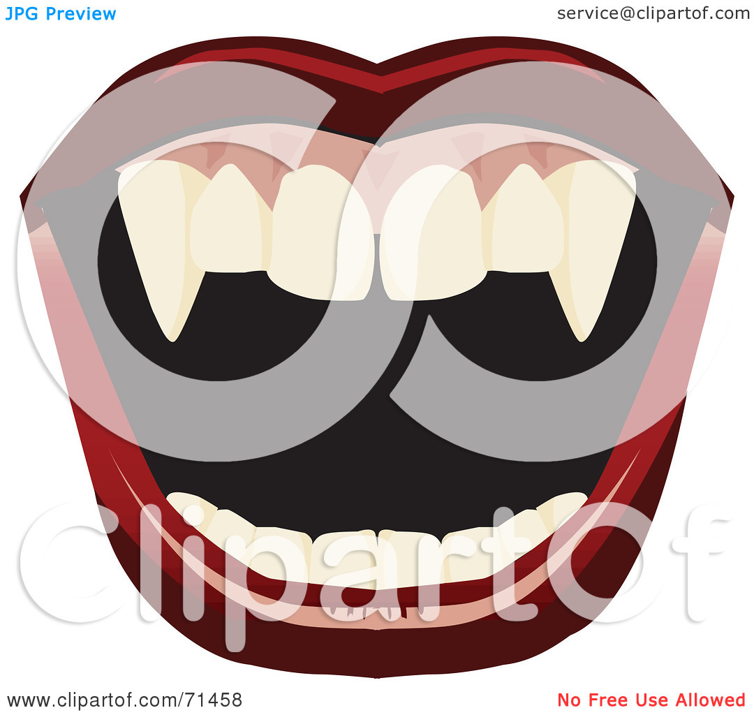 Rf  Clipart Illustration Of An Open Mount With Red Lips And Fangs
