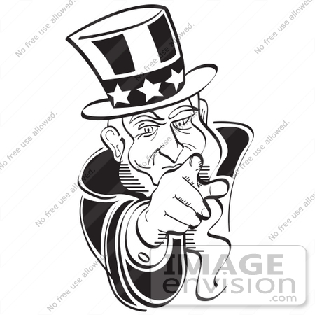 White 29091 Royalty Free Black And White Cartoon Clip Art Of Uncle Sam
