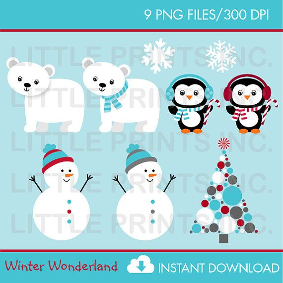 Winter Wonderland Penguin Polar Bear Snowman Clip Art Instant Download