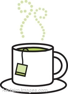 Art Picture Of A Cup Of Hot Green Tea Sitting On A Saucer  Clipart