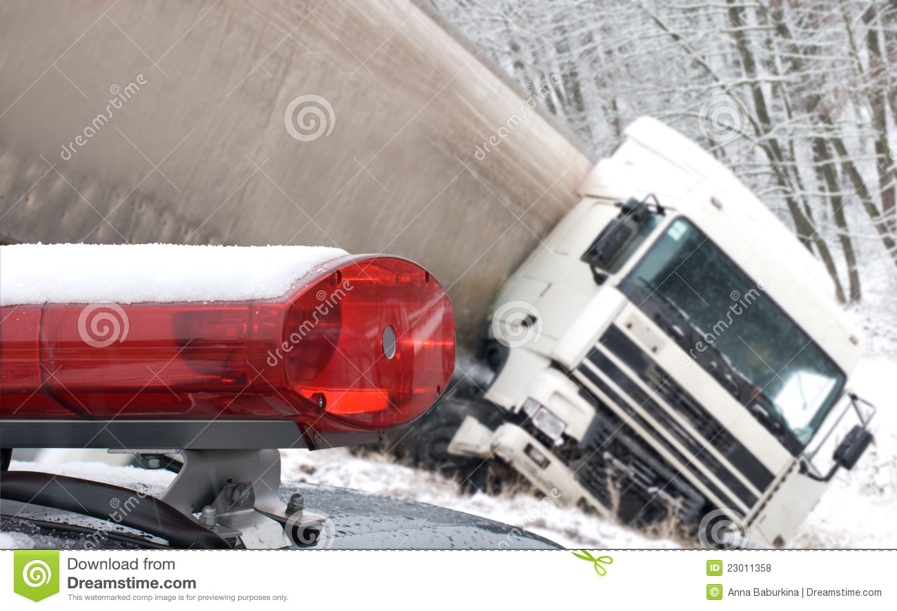 Big Truck Was Crashed On Winter Road