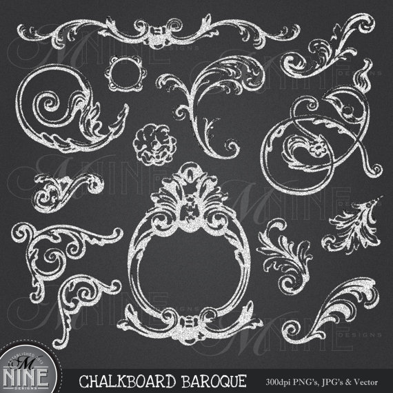 Chalkboard Clipart Art Deco Clip Art Design Elements Digital Instant