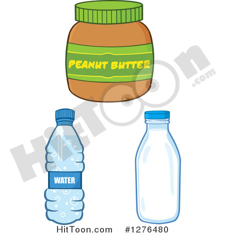 Clipart Of A Peanut Butter Jar Water Bottle And Milk Jar   Royalty