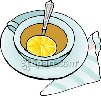 Cup Of Hot Tea With Lemon   Royalty Free Clipart Picture