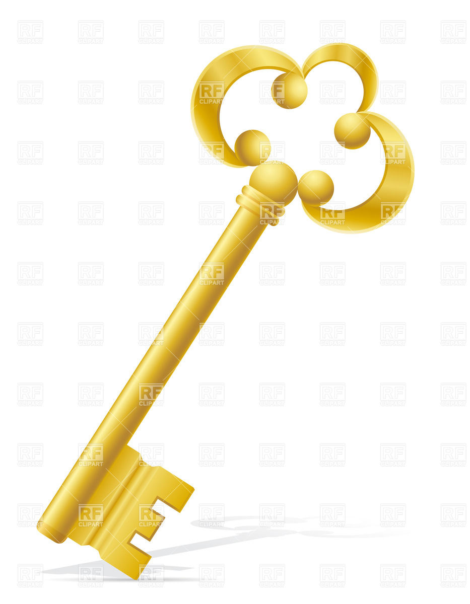 Golden Antique Door Key With Ornate Handle 28006 Objects Download