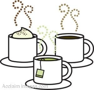 Of Hot Beverages Including Cappuccino Coffee And Tea  Clipart