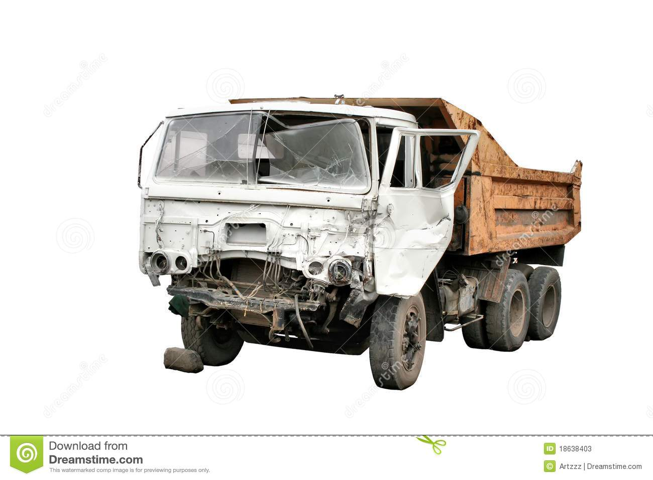 Old Crashed Dump Truck Isolated Over White