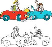 People Car Crash While Using Cell Phones   Royalty Free Clip Art