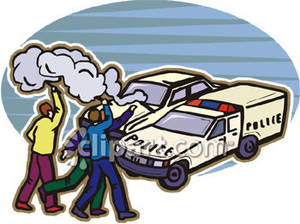 Police At The Scene Of A Car Accident   Royalty Free Clipart Picture