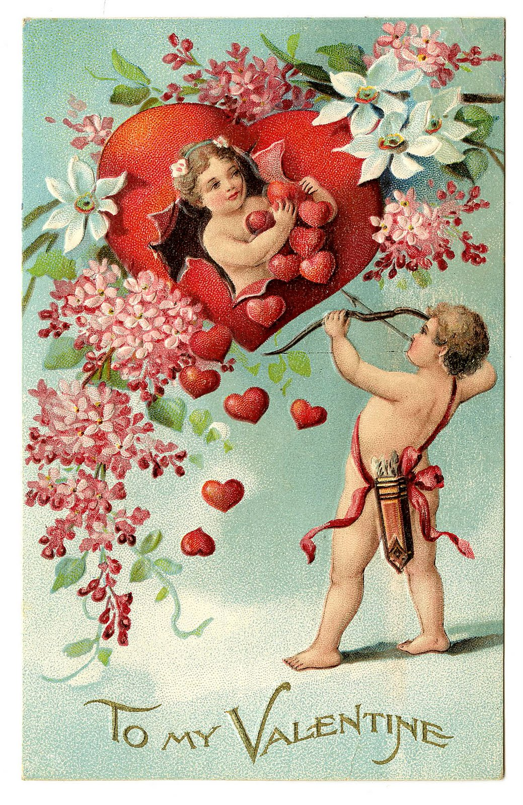 Vintage Clip Art   Valentine With Cherubs And Hearts   The Graphics