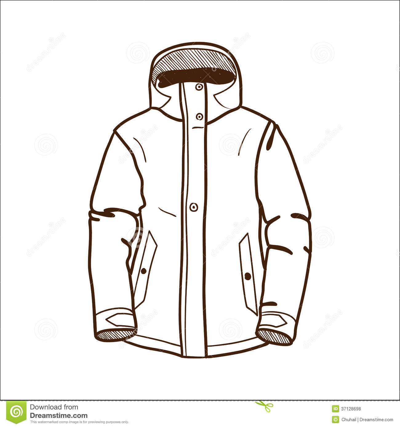 Winter Coat With Hood Clipart Winter Sport Jacket Isolated