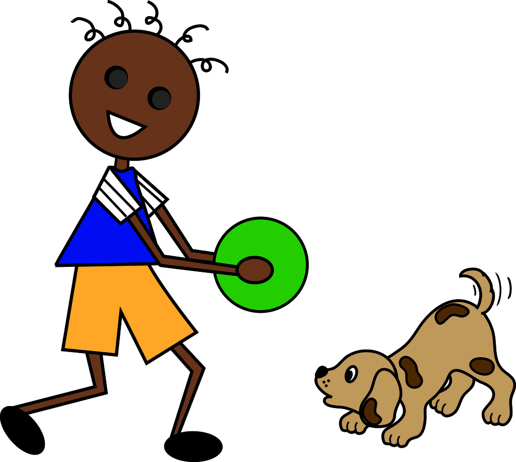 African American Cartoon Boy With Stick Legs And Arms Playing Ball