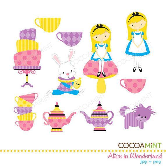alice and wonderland tea party clip art