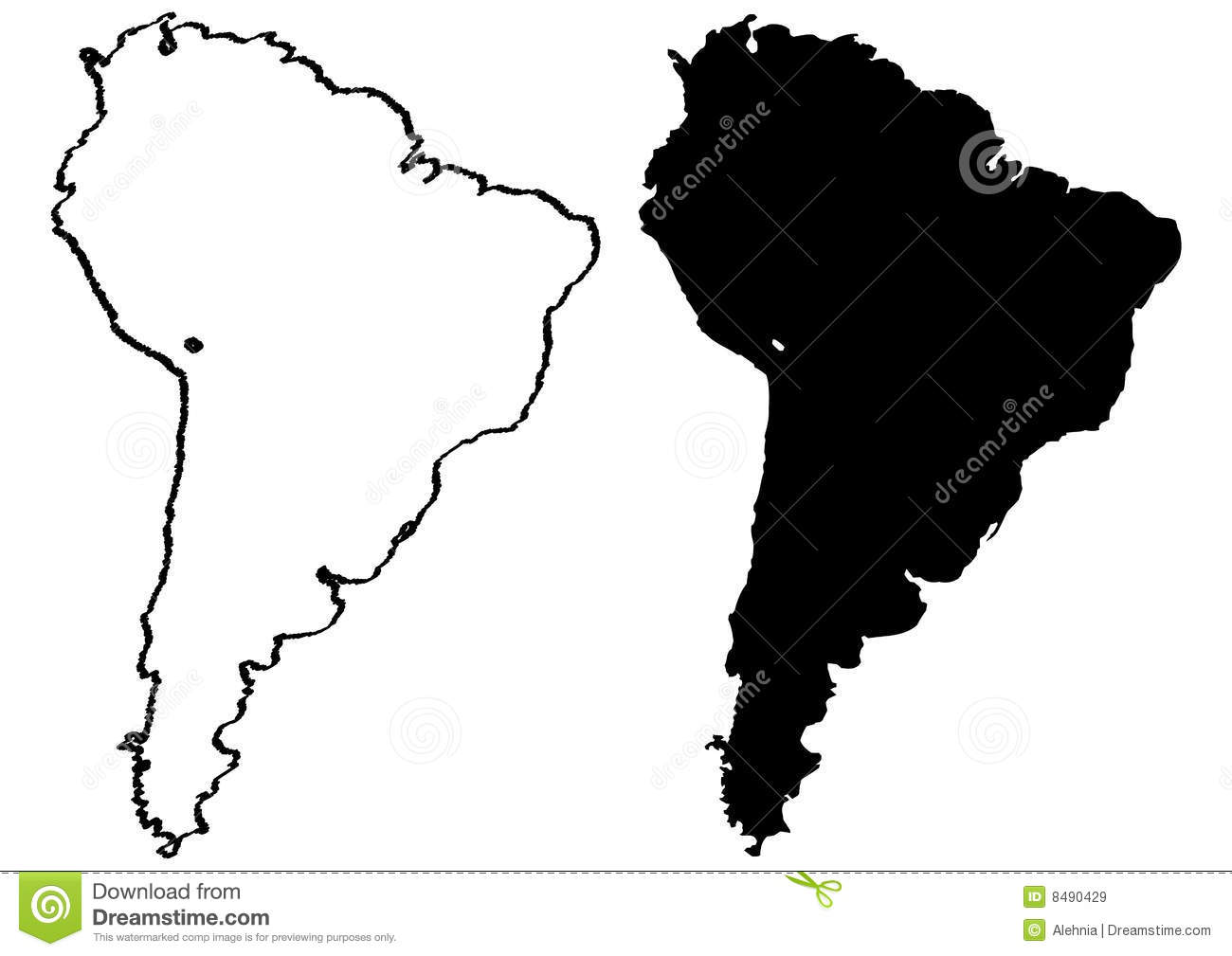 Black And White Map Of South America Illustration