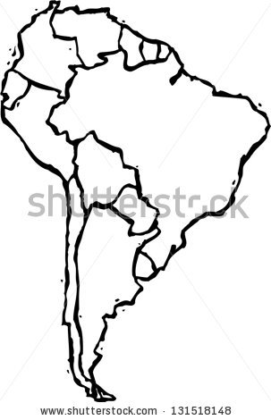 Black And White Vector Illustration Of Map Of South America