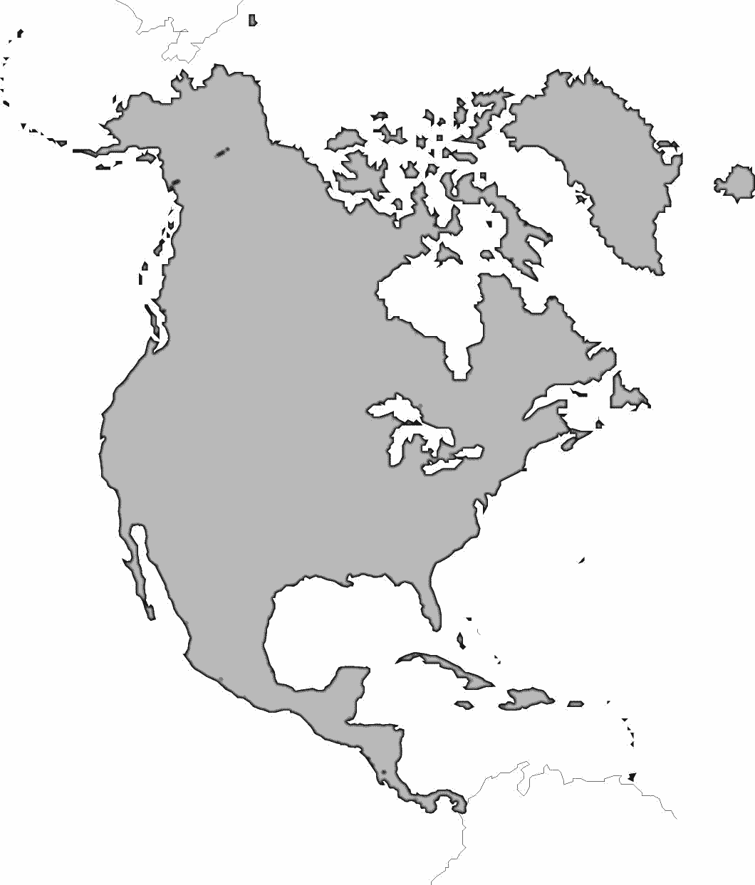 Blank Map Of North America Without Regional Borders