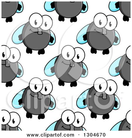 Clipart Of A Seamless Background Pattern Of Happy Cartoon Flies 2
