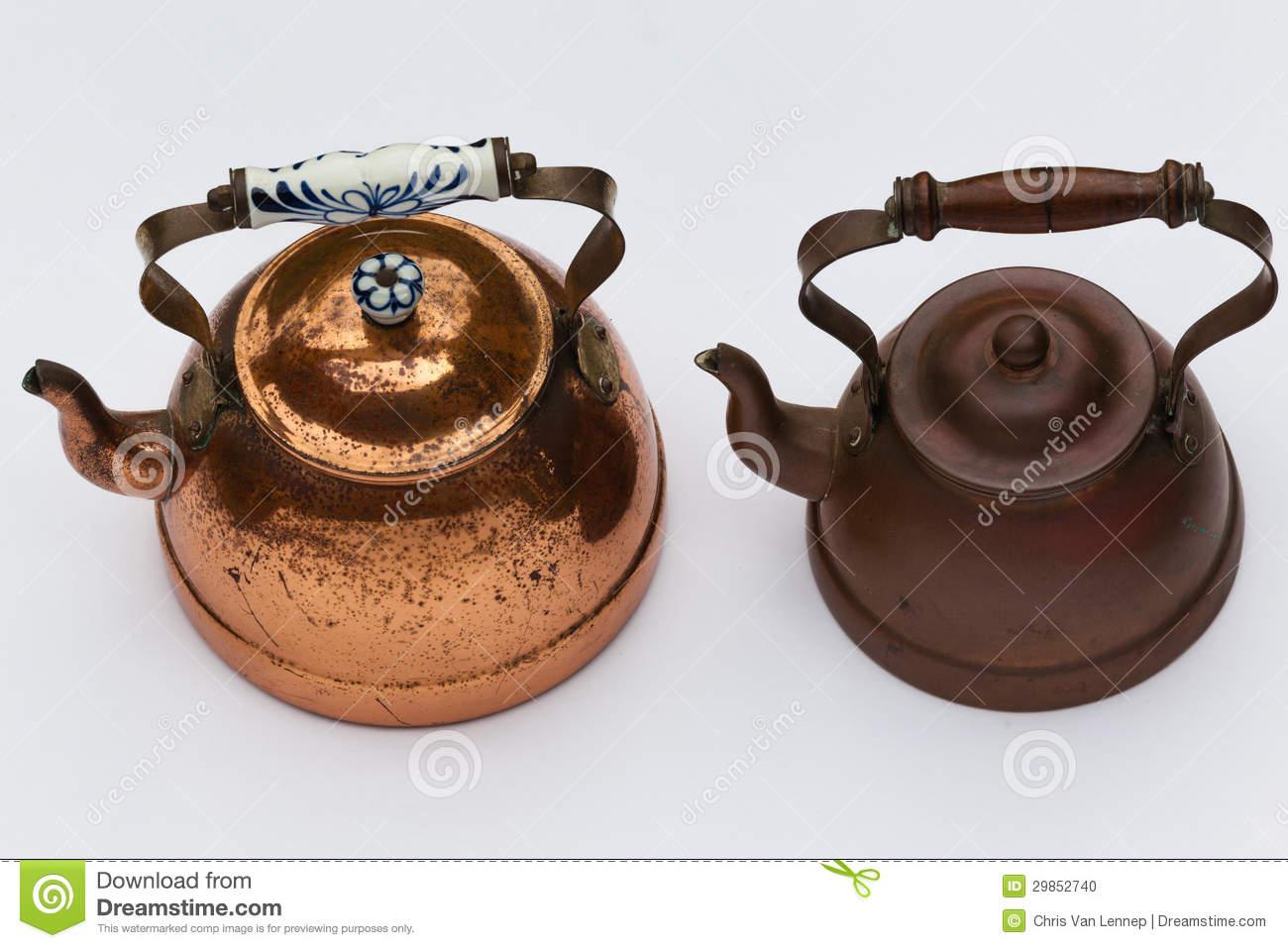 Copper Kettles Pots Stock Photo   Image  29852740