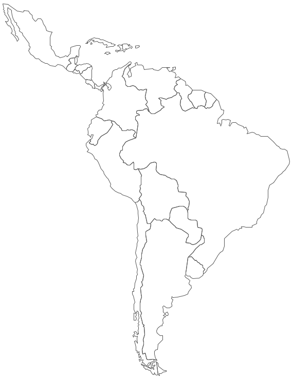 Geo Map   Contours Of South America Countries