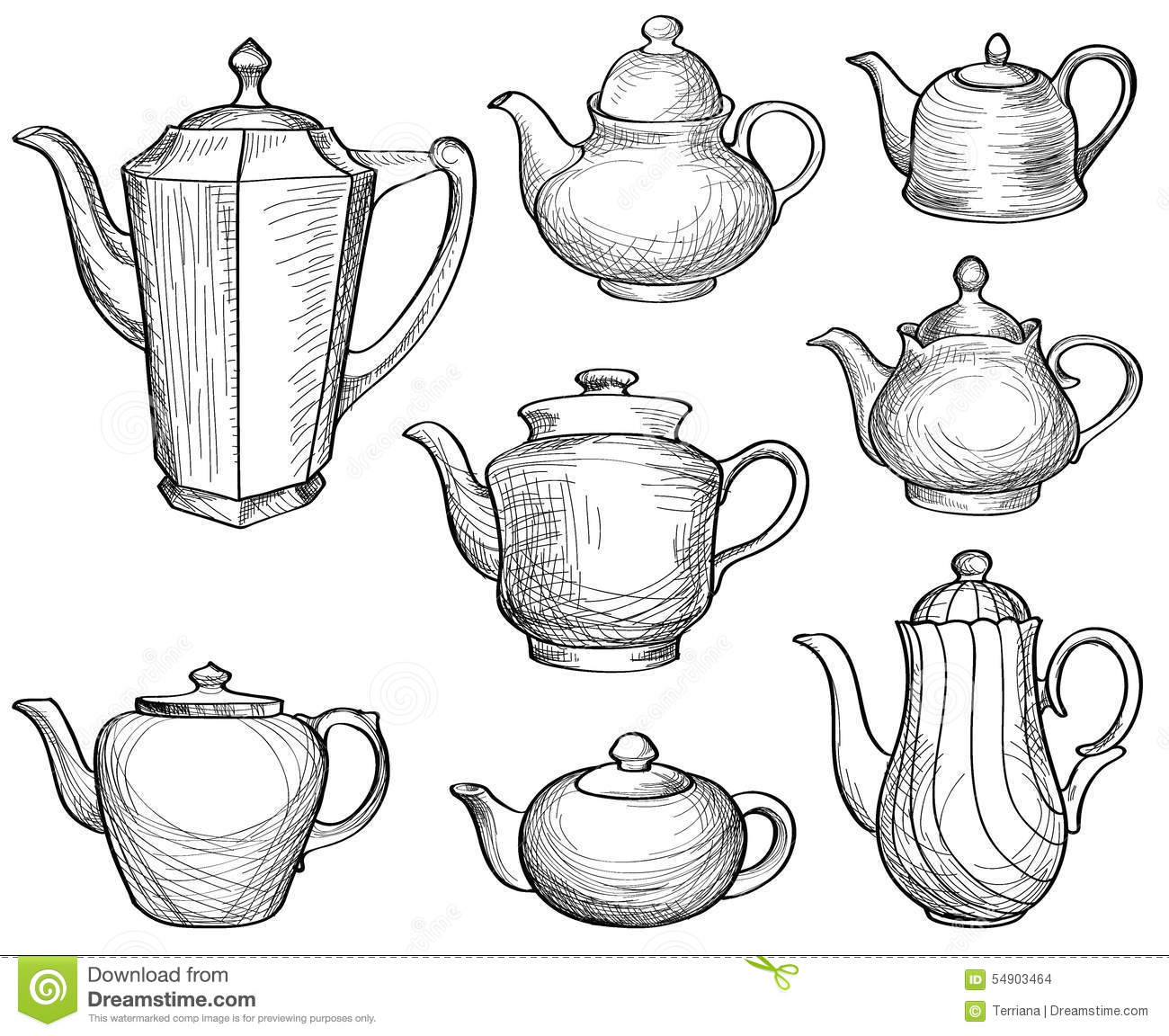 Kettles Set  Teapots Silhouette Sketch Old Fashioned Collection