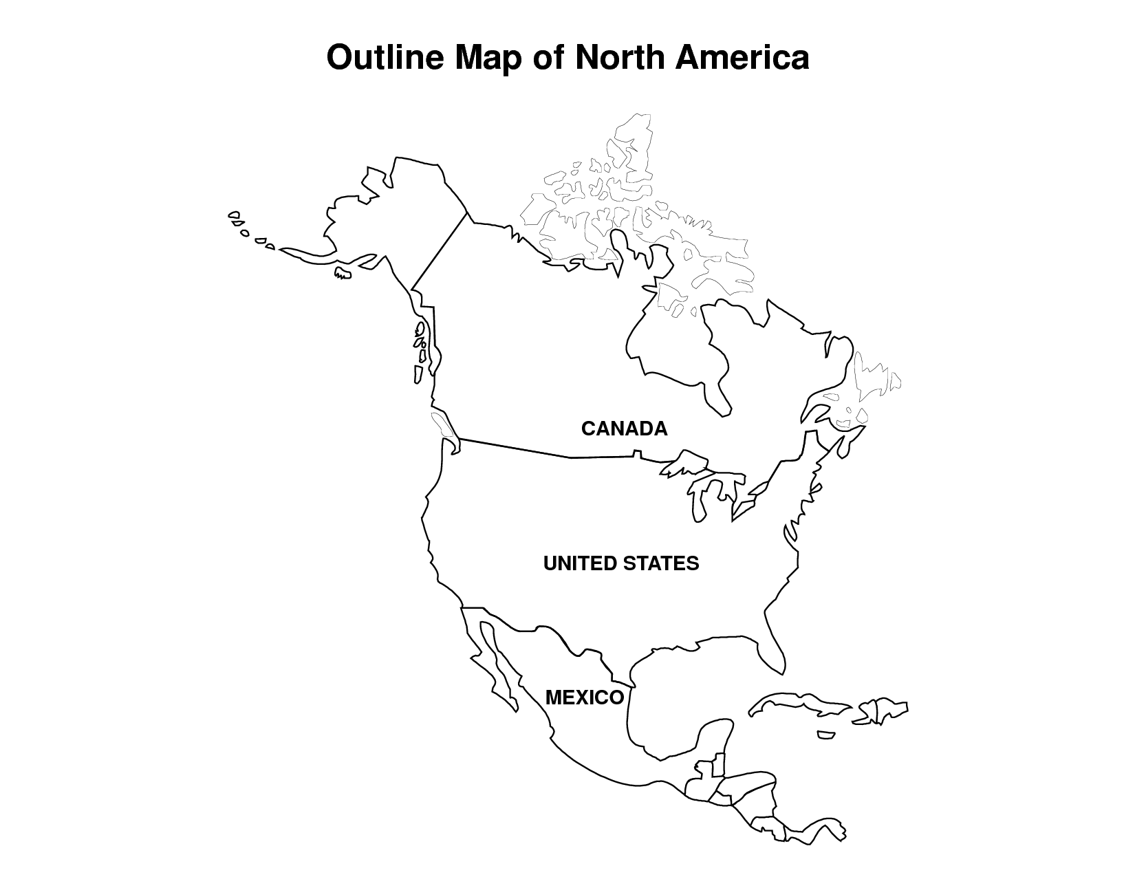 Outline Map Of North America Canada United States Mexico