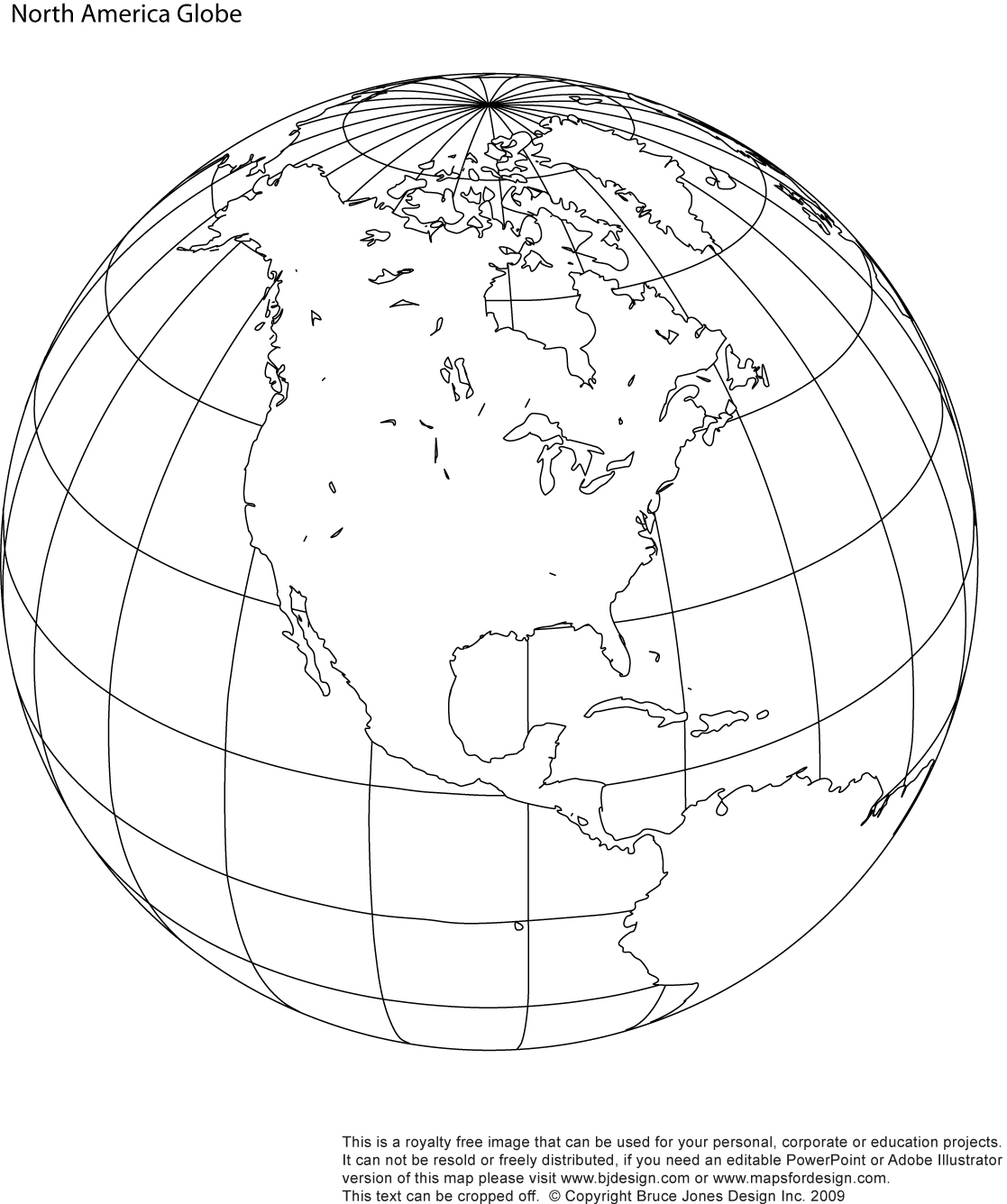 Printable North America Globe Blank Map Jpg Format This Map Can Be