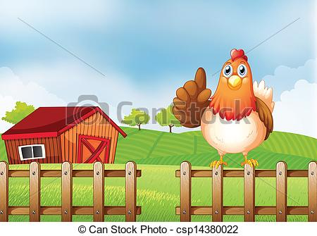Ranch Fence Clipart A Chicken Above A Wooden Fence