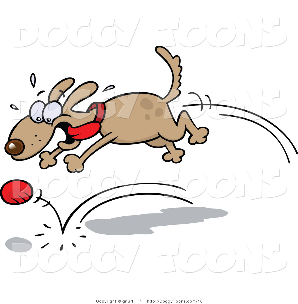 Vector Doggy Clipart Of A Happy Dog Chasing A Ball By Gnurf    10