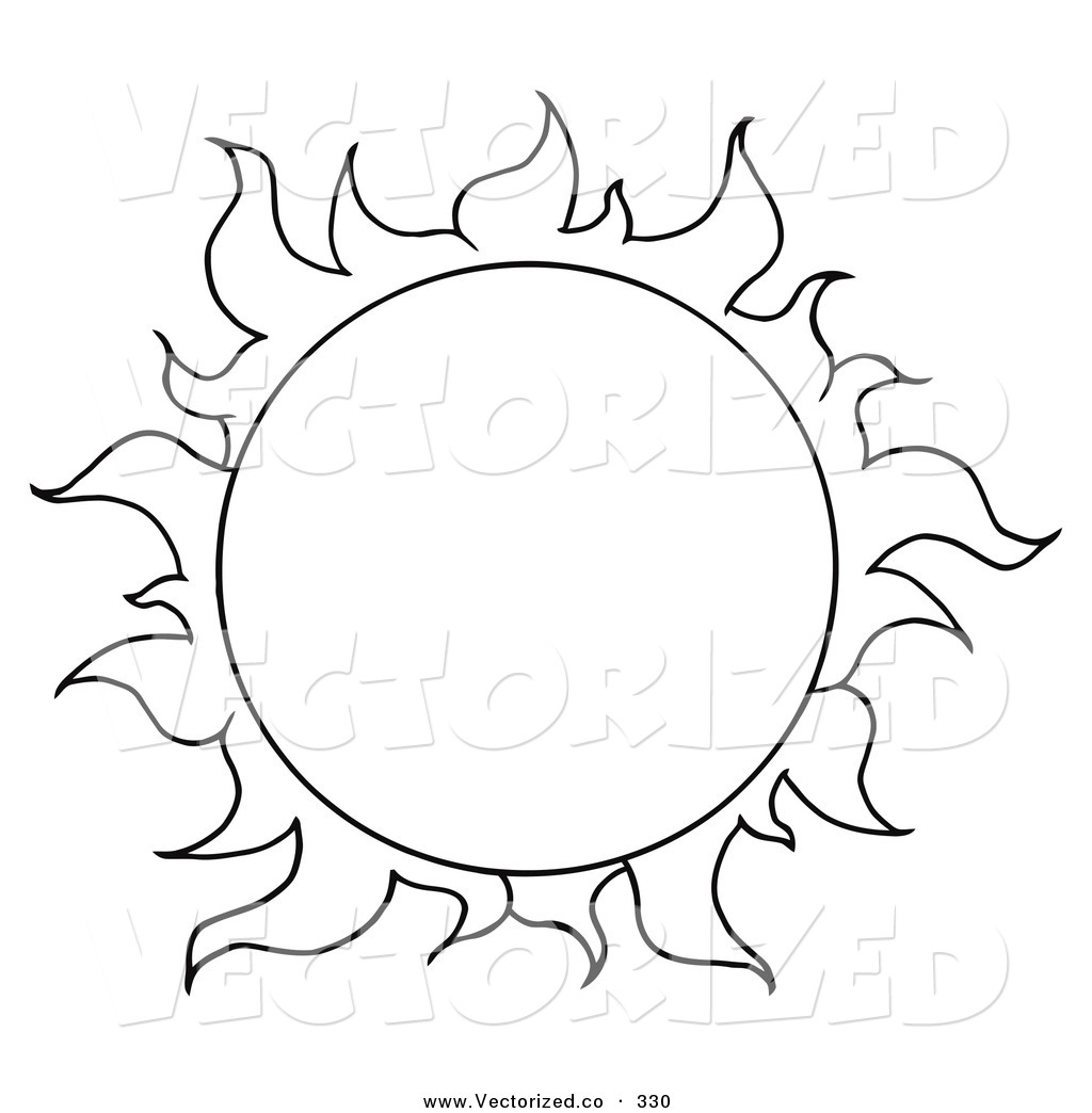 Vector Of A Coloring Page Of A Full Summer Sun By Hit Toon    330