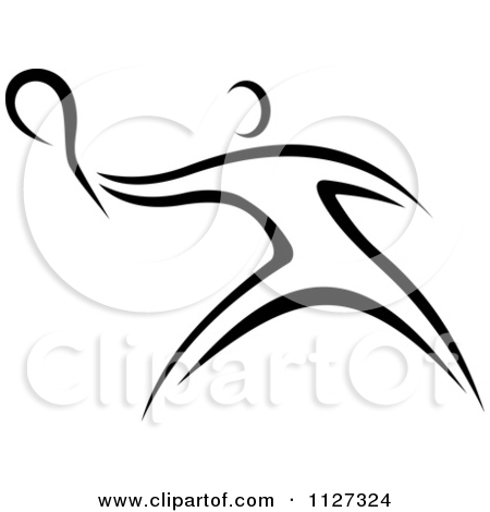 Clipart Of A Black And White Tennis Player   Royalty Free Vector