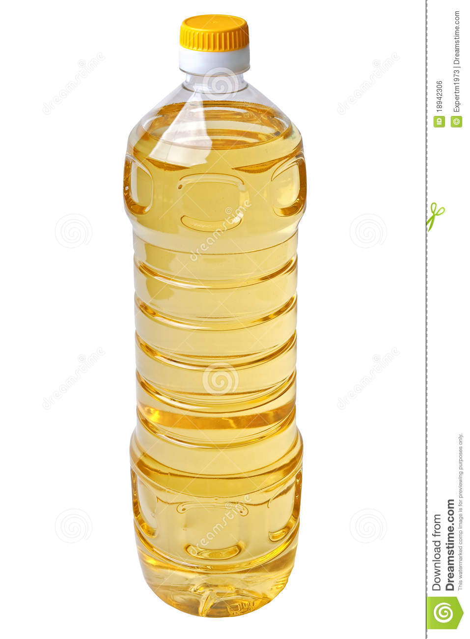 Isolated Liter Full Bottle Of Vegetable Oil