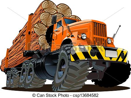 Log Truck Drawings Vector Of Cartoon Logging Truck Isolated On White