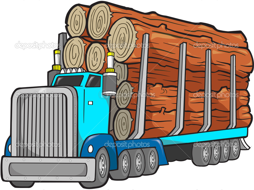 Logging Truck Vector Illustration   Stock Vector   Misterelements