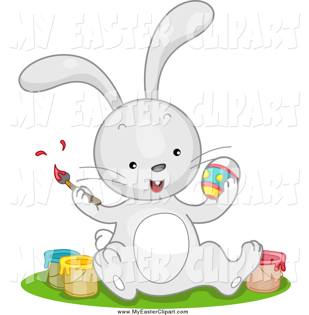 Preview  Clip Art Of A Cute Gray Easter Bunny Sitting With Paint
