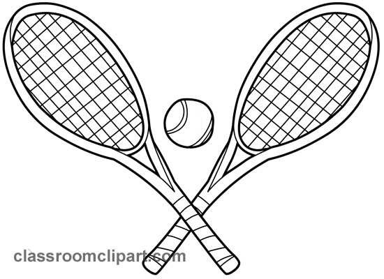 Sports   Two Tennis Racquets 01 Outline   Classroom Clipart