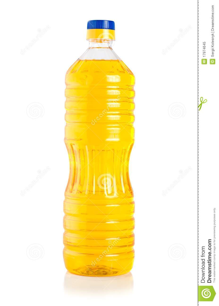 Vegetable Oil In Plastic Bottle Isolated On A White Background