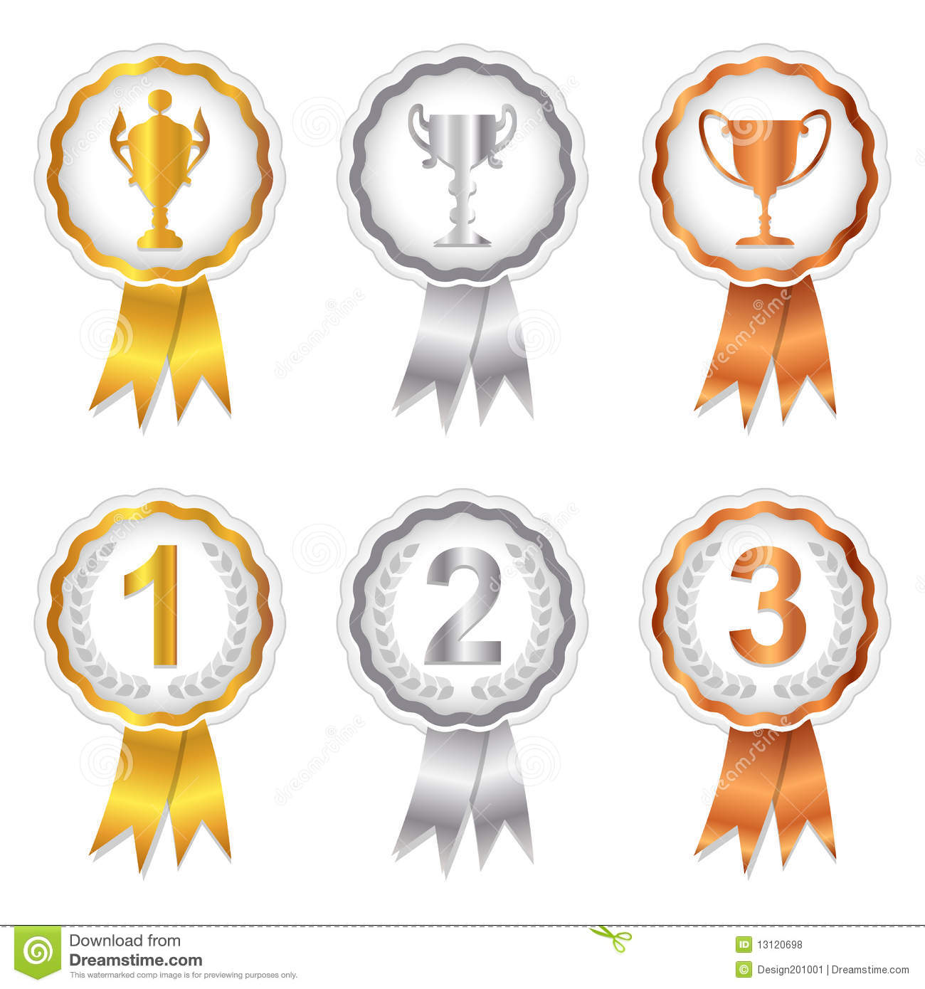 Winners Set 1   Gold Silver And Bronze Rosettes Royalty Free Stock