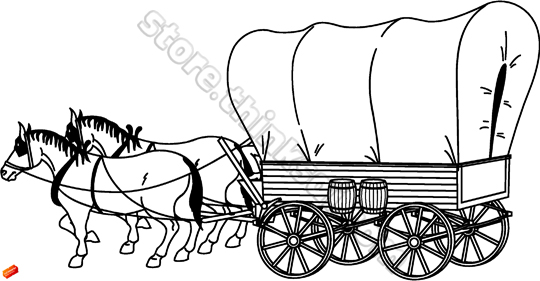 And Native American Covered Wagon 01 Covered Wagon Illustration