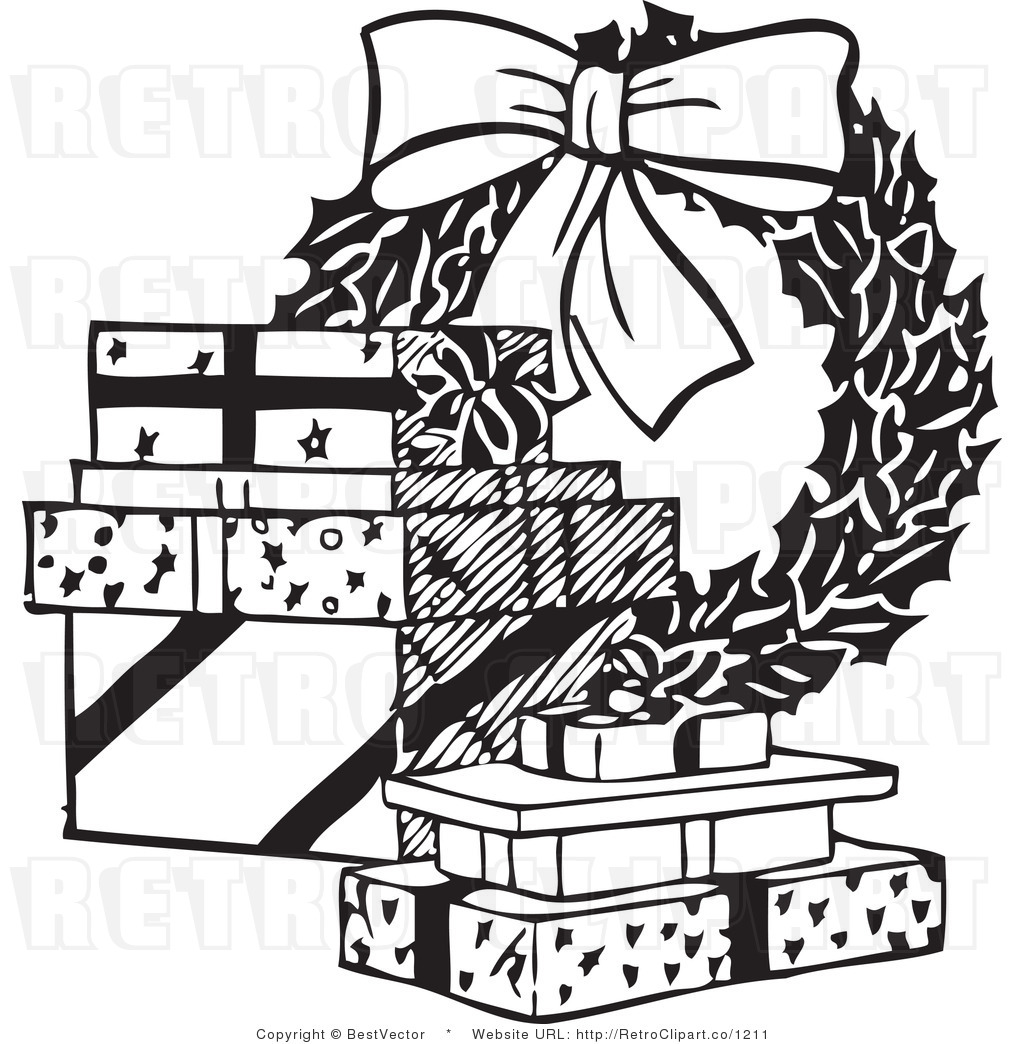 Christmas Gift Black And White Clipart - Clipart Suggest