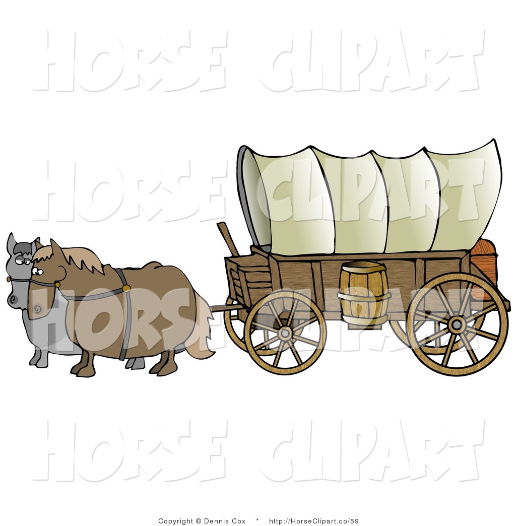 Brown  Pulling A Big Covered Wagon On The Oregon Trail By Djart    59