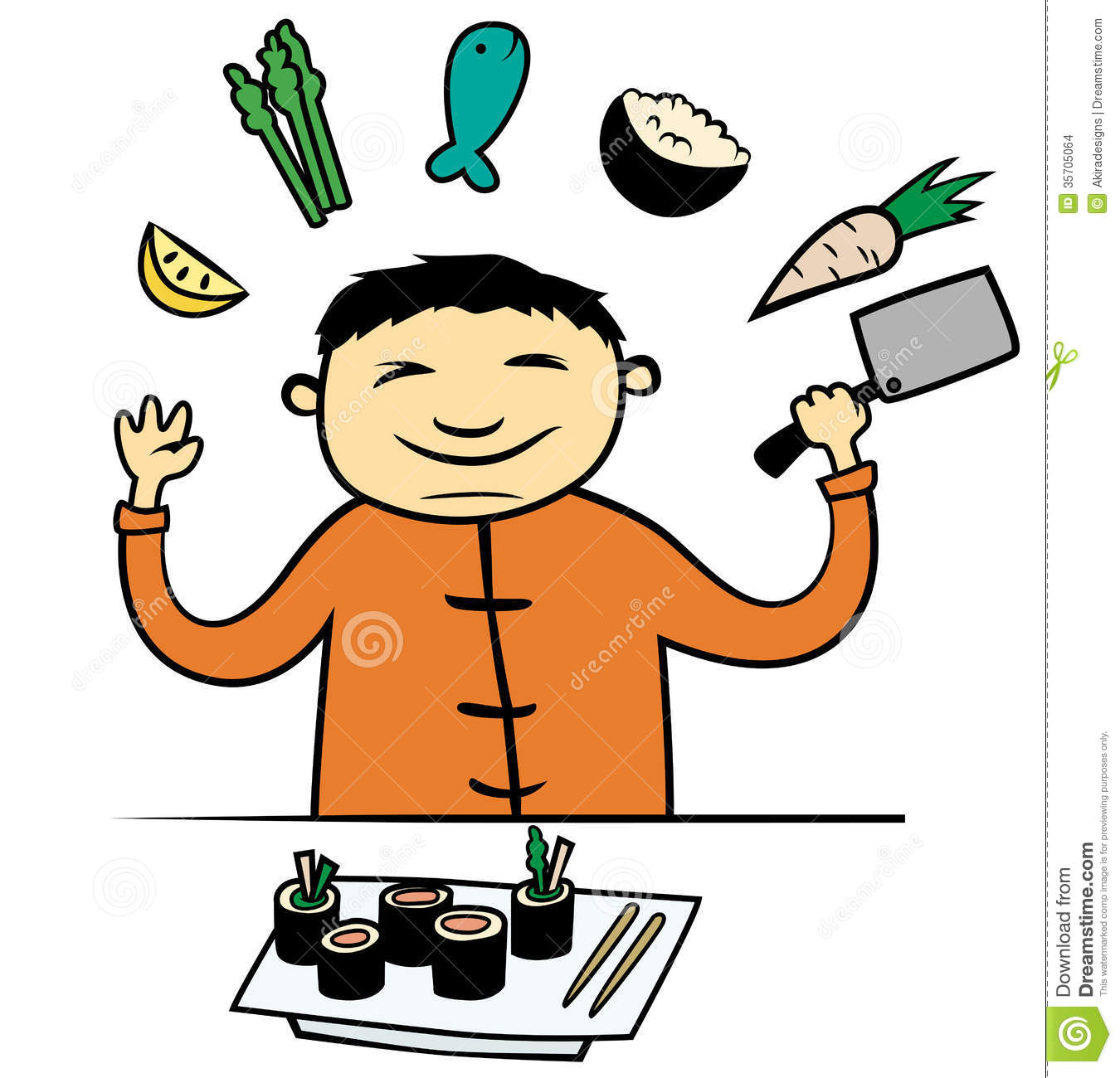 Cartoon Vector Illustration Of Asian Chinese Or Japanese Cook Or Chef