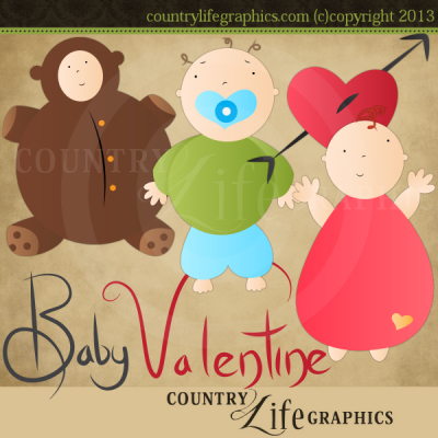 Country Life Graphics   Baby Valentine Clipart Collection