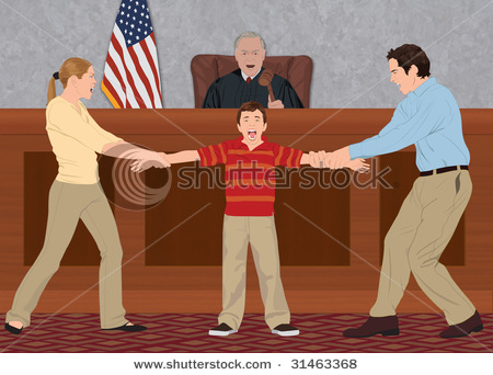 Court Battle Showing The Parents Fighting Over Their Child In A Court