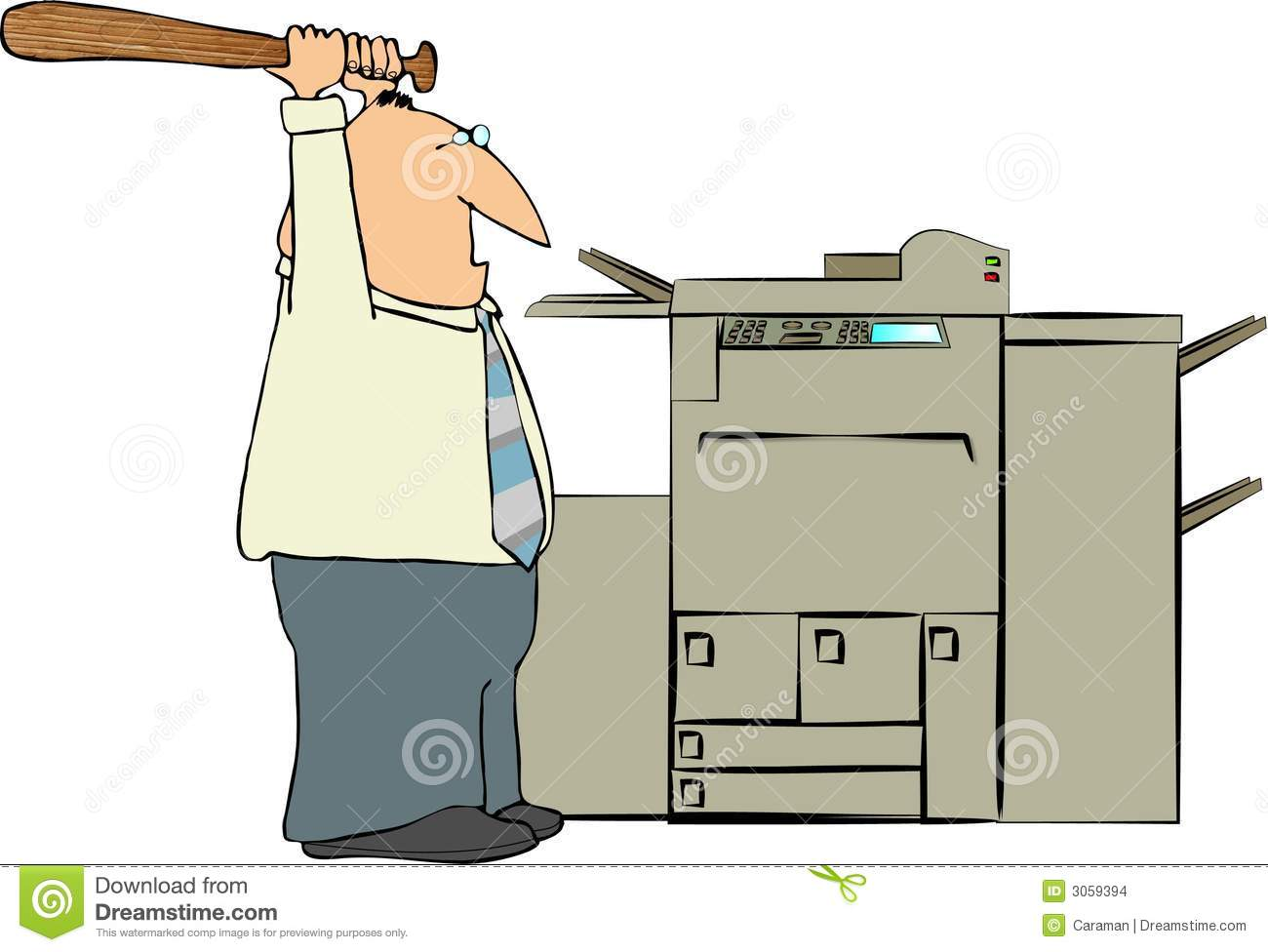 Depicts A Man About To Hit A Copy Machine With A Baseball Bat