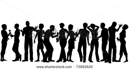 Editable Vector Silhouettes Of Men And Women Standing At A Party With