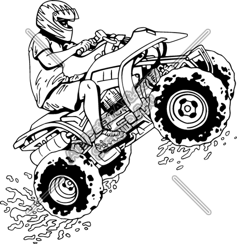 Four Wheeler With Guy Colouring Pages