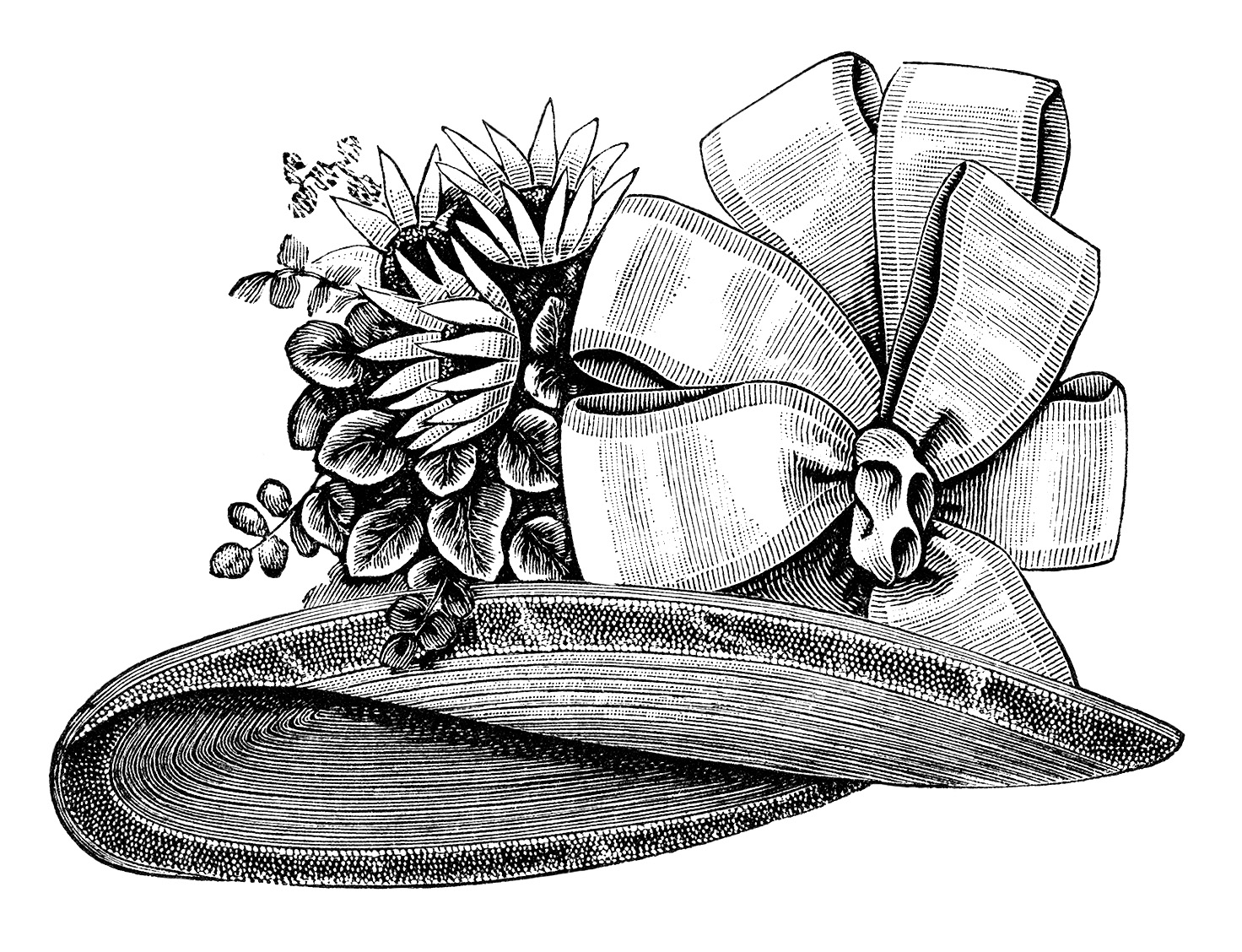 Hat Victorian Fashion Accessories Black And White Clipart Vintage