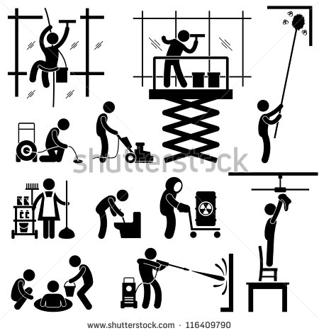 Industrial Cleaning Services Risky Cleaner Job Working Stick Figure