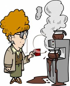Looking At A Broken Coffee Machine   Royalty Free Clipart Picture